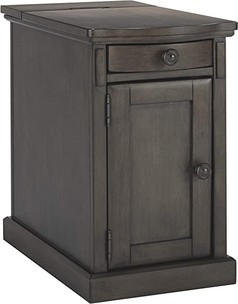 Signature Design By Ashley Laflorn Chairside End Table With Usb Ports Outlets Gray Furniture Decor