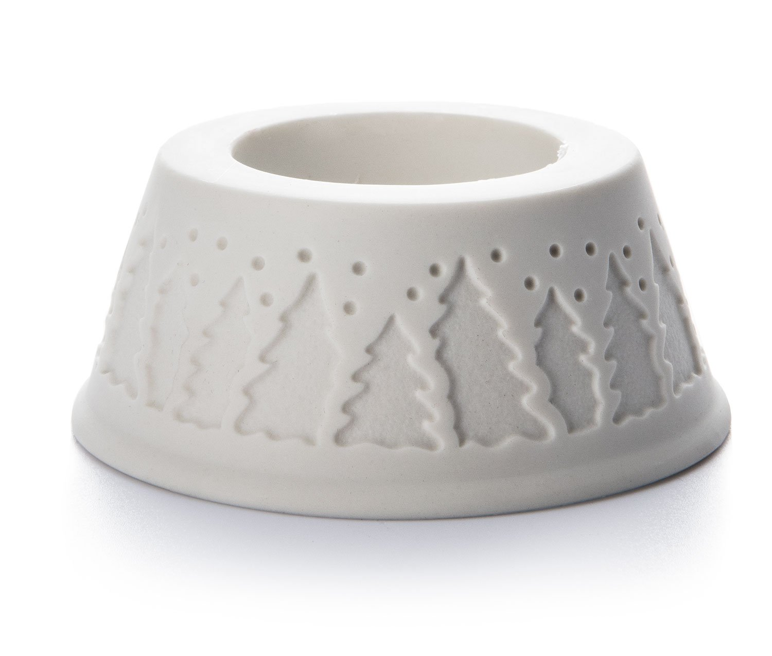 Advent Candle White Porcelain Holder - Trees, suitable for any 5cm diameter pillar candle Maingate