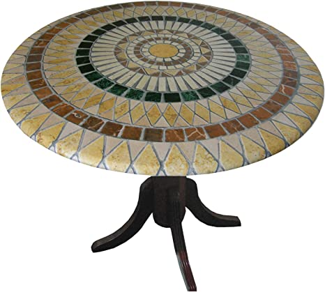 Amazon Com Mosaic Table Cloth Round 36 Inch To 48 Inch Elastic Edge Fitted Vinyl Table Cover Tuscan Tile Pattern Brown Tan Kitchen Dining