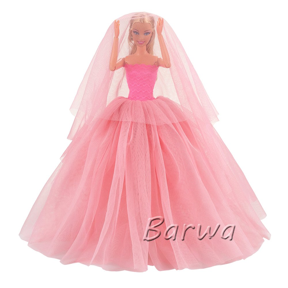 2190cb7e74c2 Amazon.com: BARWA Pink Wedding Dress with Veil Evening Party Princess Pink  Gown Dress for 11.5 inch Girl Doll: Toys & Games