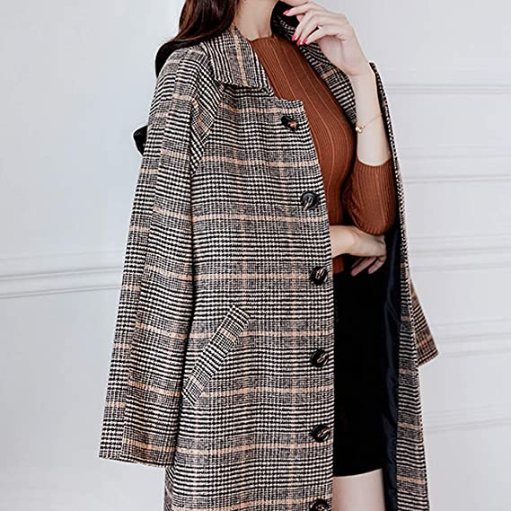 Amazon.com: Women Winter Plaid Vintage Long Coat Button Jacket Open Front Cardigan: Clothing