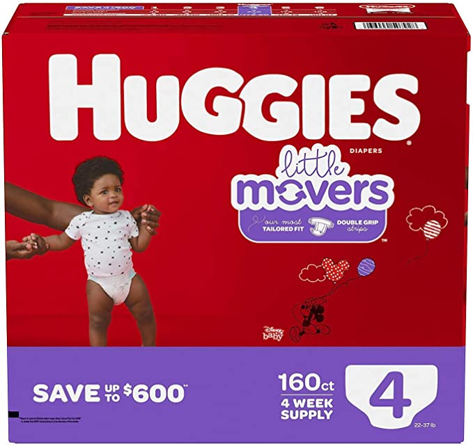 120 Count Size 4 HUGGIES Baby Diapers Little Movers White