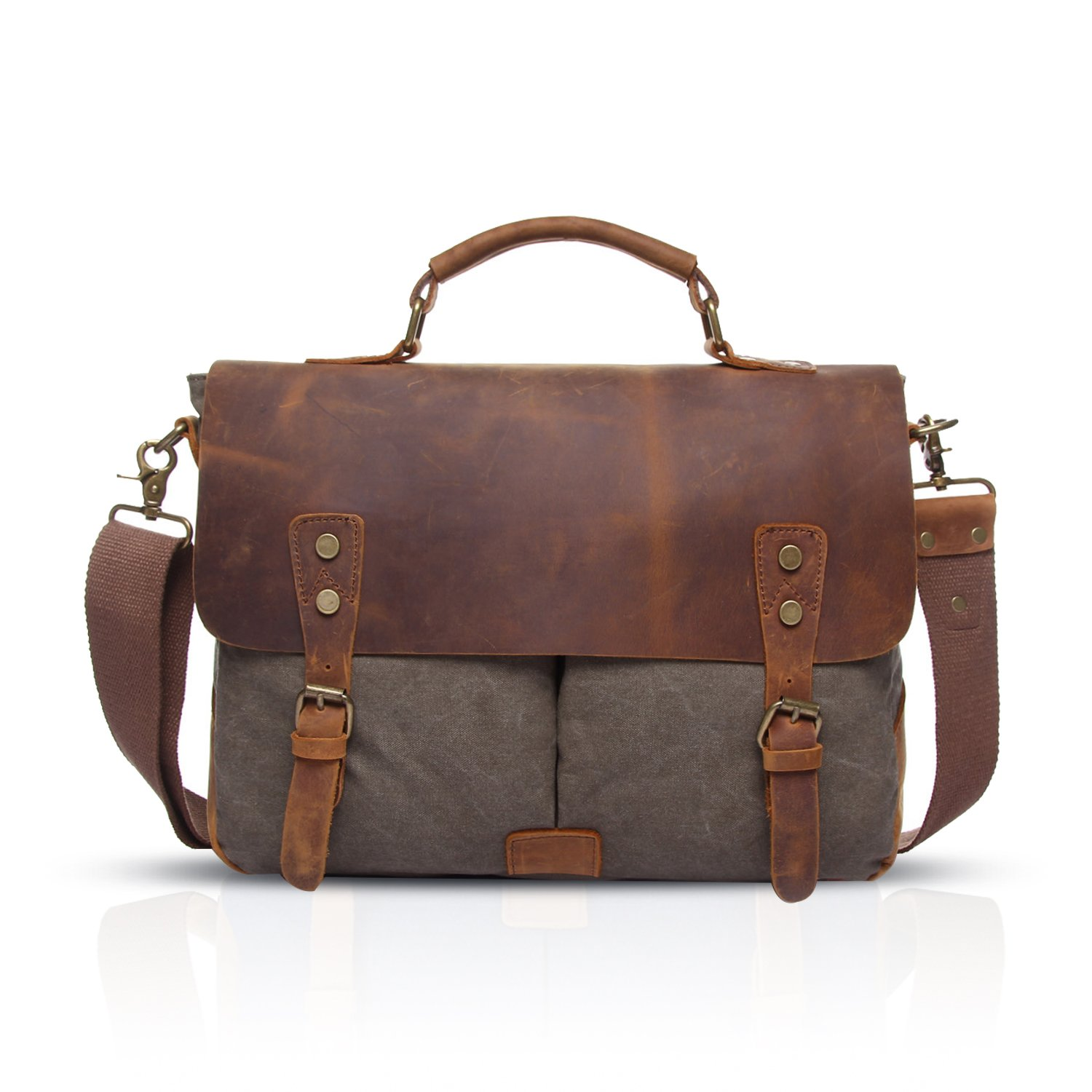 57653fd9bce2 FANDARE Vintage Messenger Bag for 14.6 inch laptops Satchel Briefcase Bag  for Men and Women School Bag Leather Canvas Army Green  Amazon.co.uk   Luggage