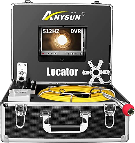 512Hz Sonde Transmitter Plumbing Camera with DVR Recorder 100ft//30m Inspection Cam with 7 LCD Monitor Sewer Camera 100ft with Locator /& Receiver 8 GB SD Card Included