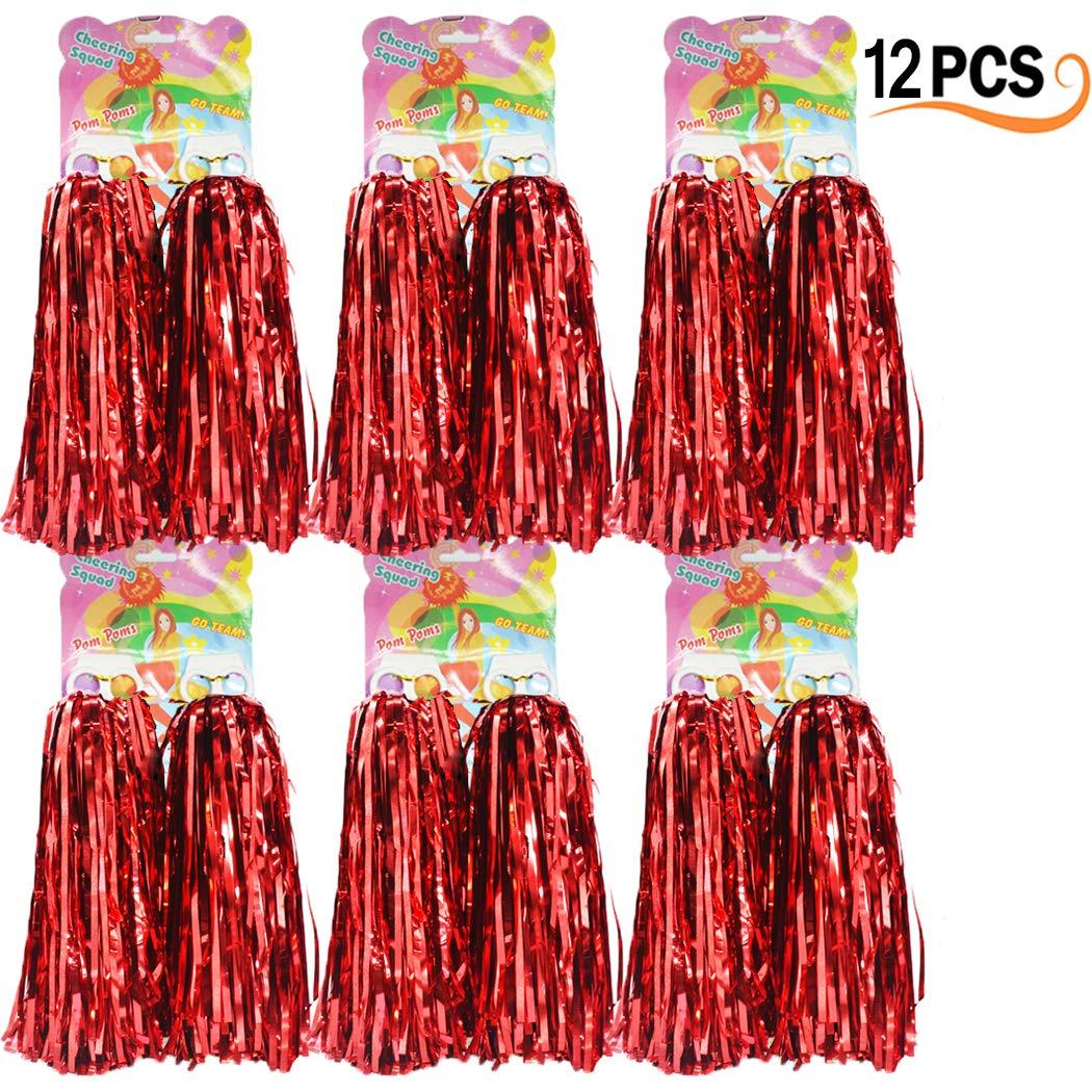 12er Pack Cheerleading Pom Poms - Ultra Shining Pom Pom Cheerleader Puschel Tanzpuschel Party Sport Fuß ball Zubehö r (Rot) Hatisan-Pro