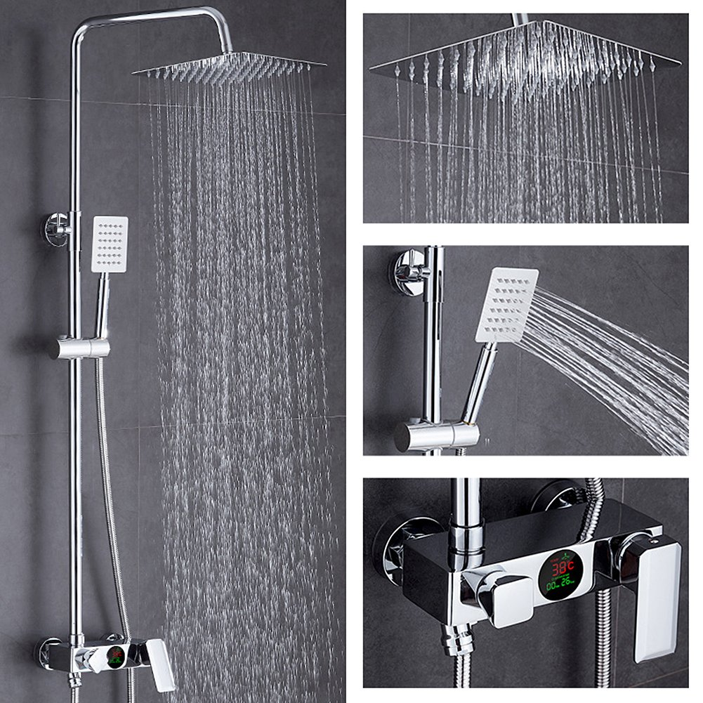 Rainfall Shower Set, Frideko Brass Wall Mounted Shower Combo Set with 10 Inch Square Bathroom Fixed Rainhead, Adjustable Handheld Shower Head and LED Fahrenheit Temperature Display, Chrome Finish