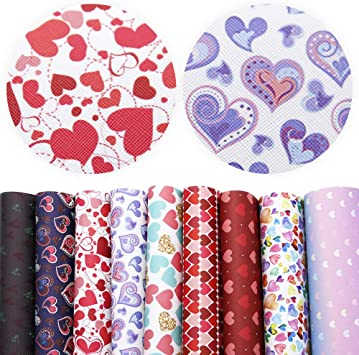 David accessories Heart Love Pattern Printed Faux Leather Sheets Fabric Canvas Back 9 Pcs 8 x 13 Valentines Day for Valentines Day Making Bags Crafting DIY Sewing Festival Decor 20 cm x 34 cm