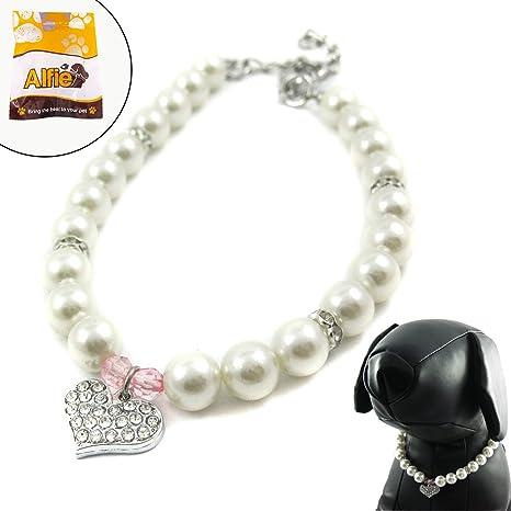 62492af3ae16 Alfie Couture – Collar de Perlas de Cristal Rosa con Forma de corazón para  Perros y