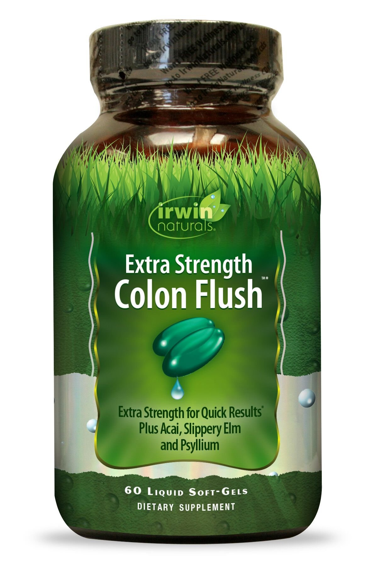 Irwin Naturals Extra Strength Colon Flush, Quick Digestion Results with Acai, Slippery Elm & Psyllium, 60 Count