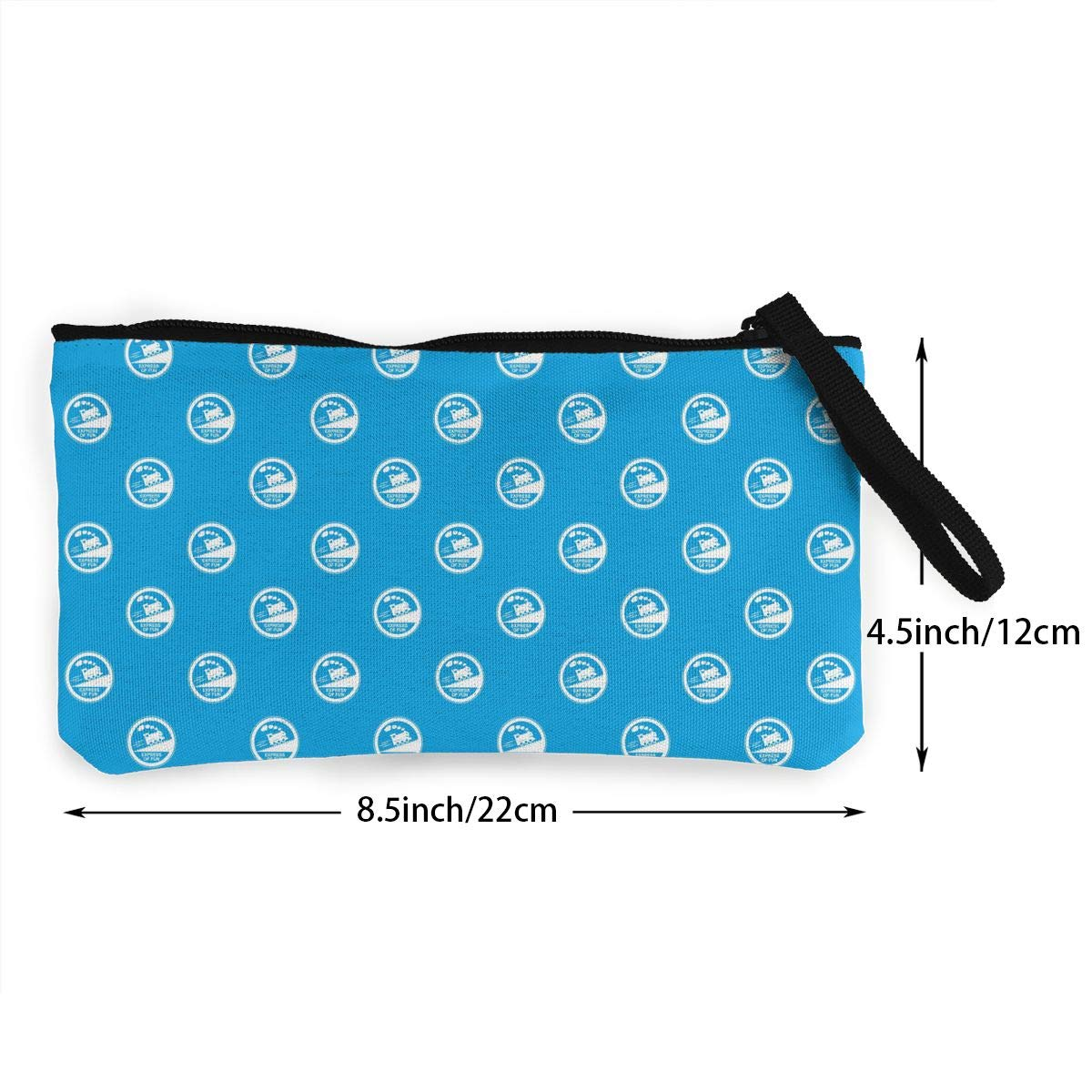 Train Journey Sign Pattern Canvas Change Coin Purse Retro Money Bag with Zip