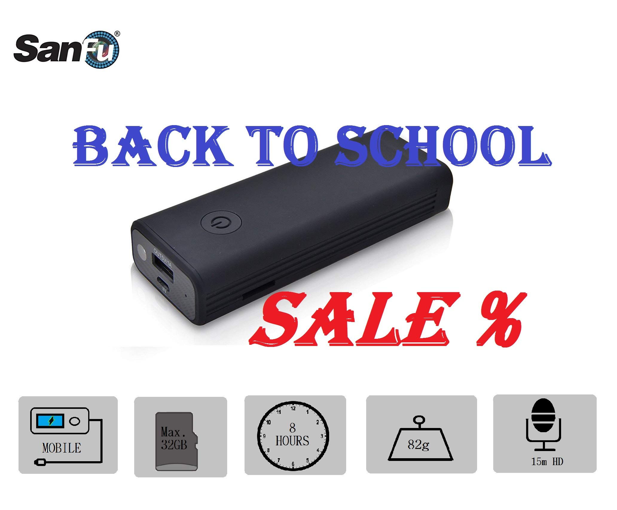SanFu HD Power Bank Hidden Camera, Including Video/Audio Recording, Flash Drive Function (Memory Card is NOT Included)
