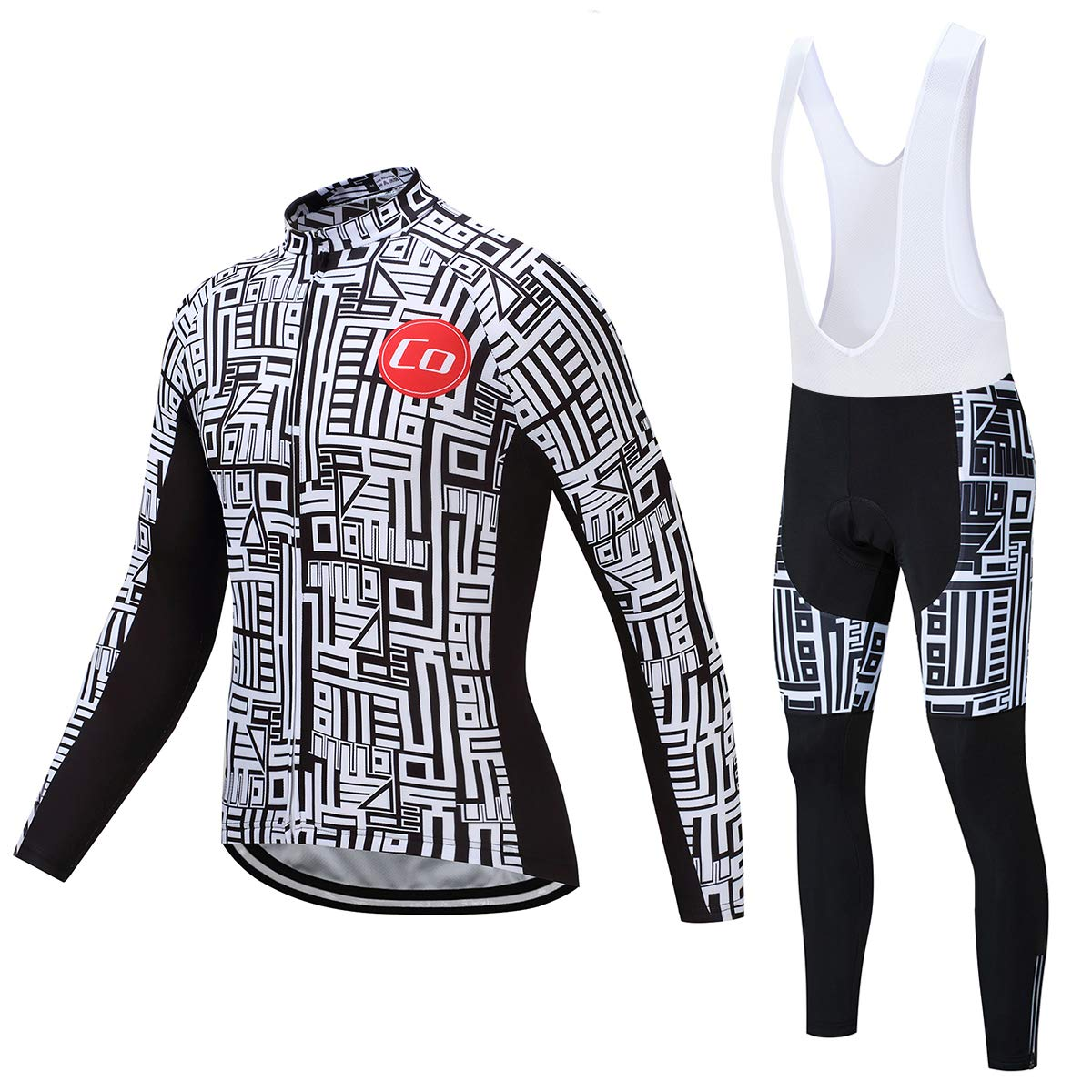 Coconut Ropamo Men's Cycling Jersey Suit Long Sleeve Road Bike Jersey Cycling Sets Tights with Padded (3XL, White&Black) by Coconut Ropamo