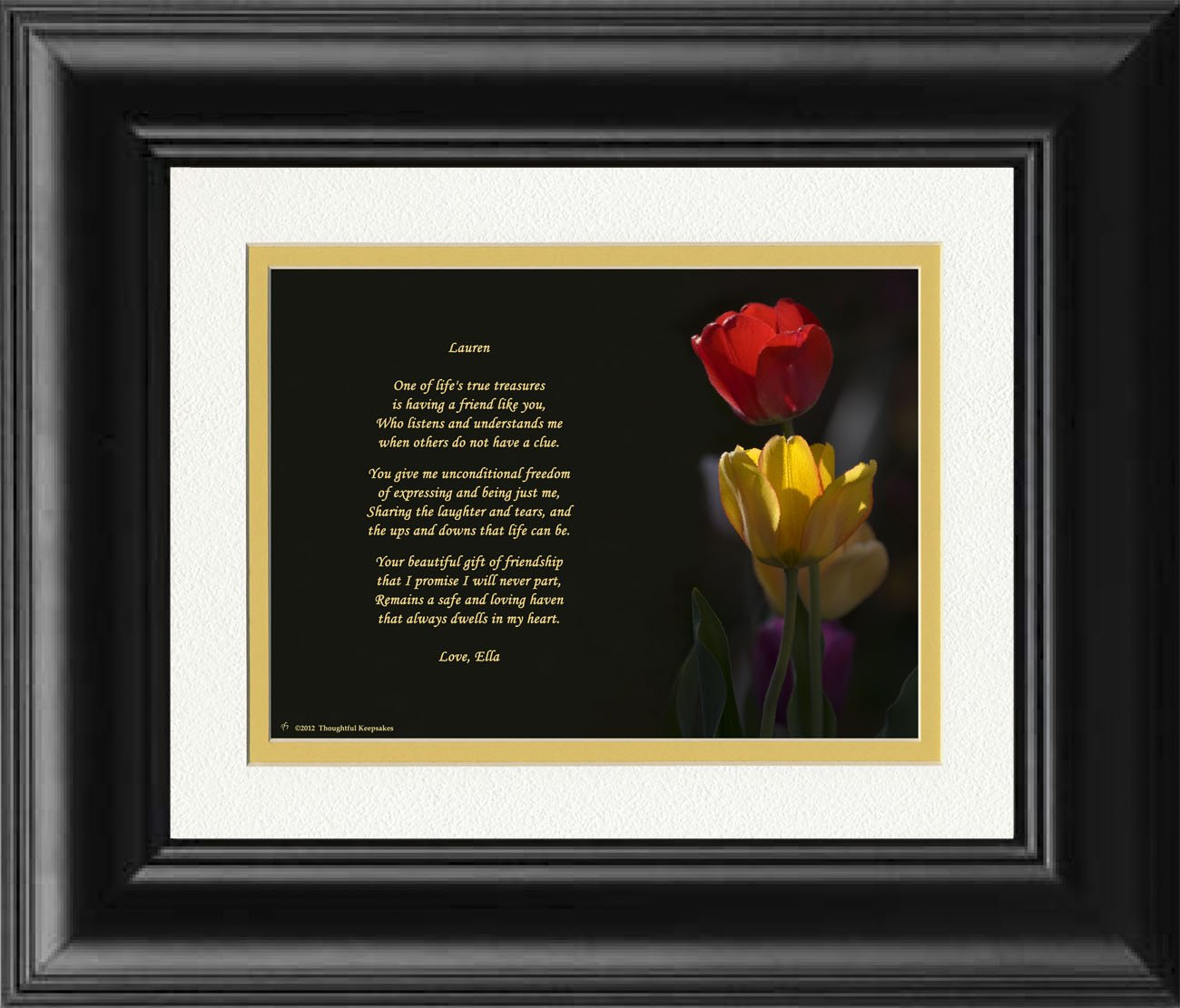 Amazon.com: Framed Personalized Friend Gift. Tulips Photo with This ...