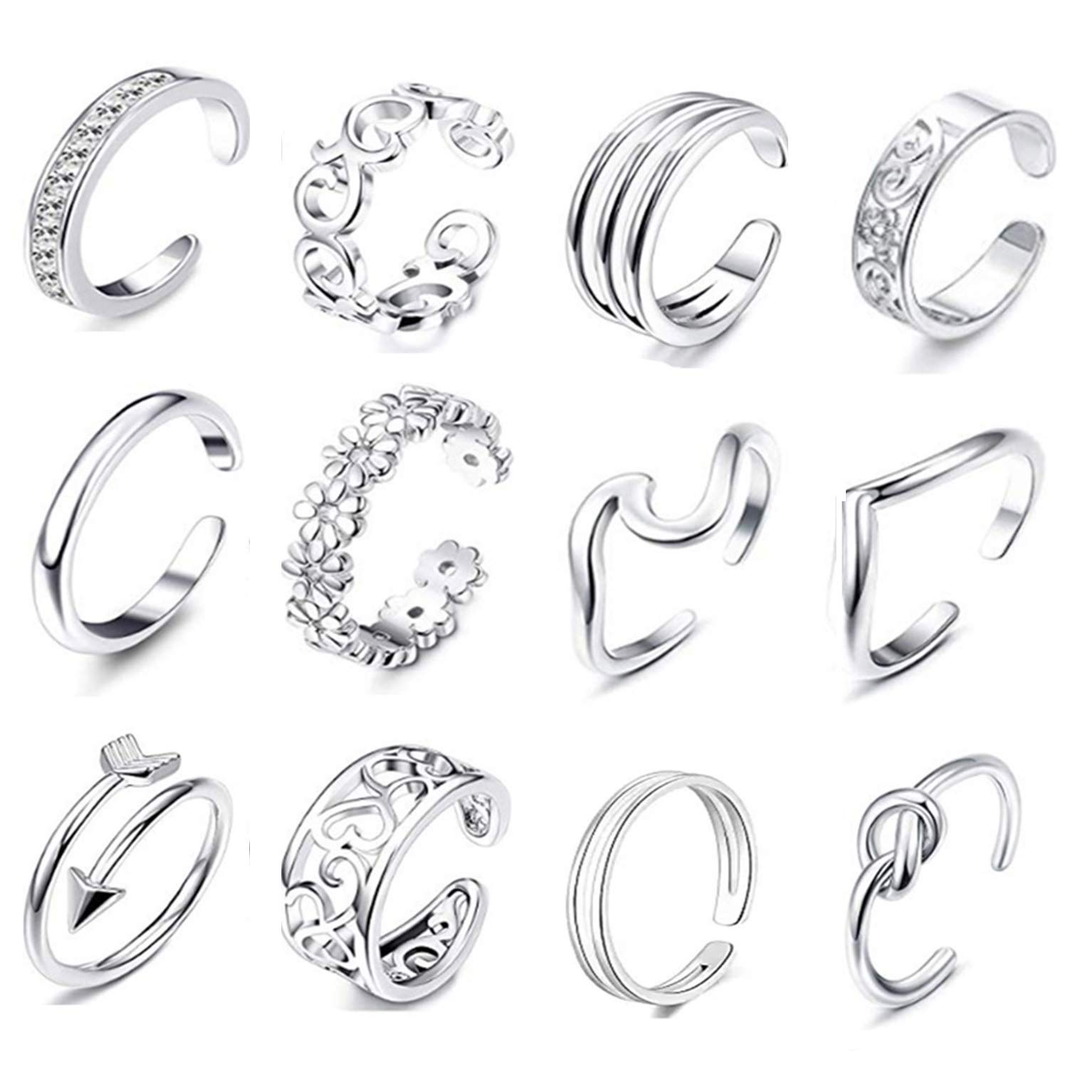 FIBO STEEL 12 Pcs Open Toe Rings for Women Girls Vintage Retro Wave Flower Celtic Knot Arrow Tail Band Toe Ring Adjustable Silver-Tone by FIBO STEEL