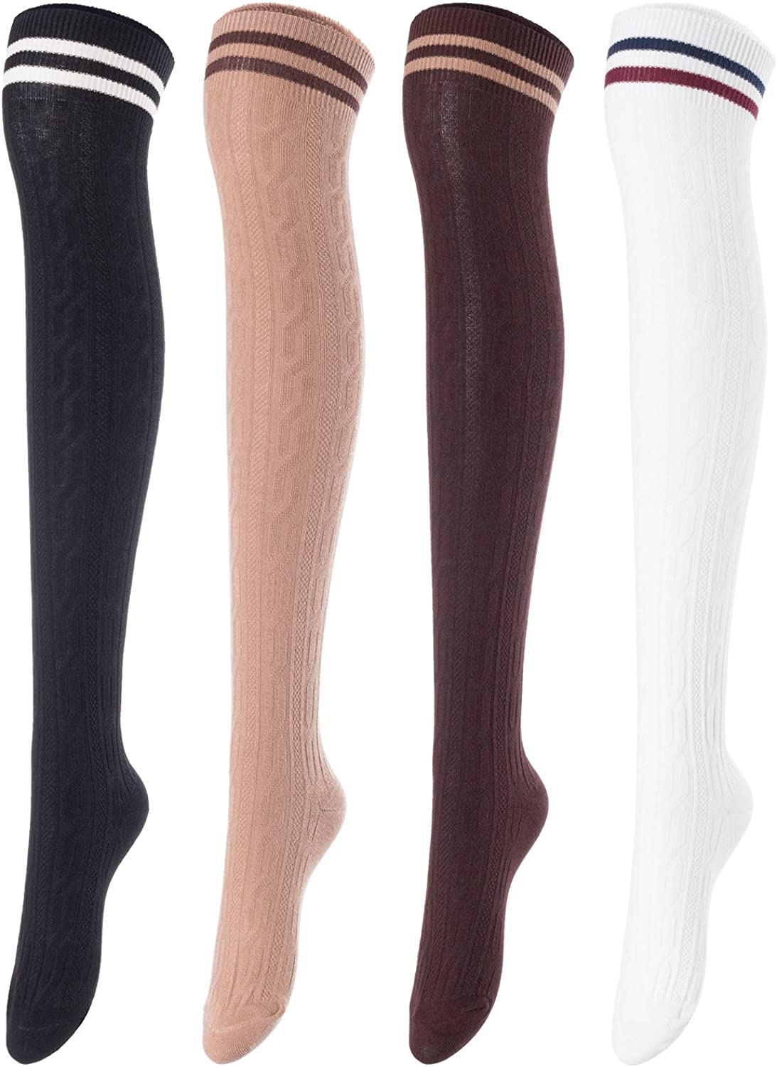 Lian LifeStyle Womens 4 Pairs Thigh High Cotton Socks Size 6-9 LW1023
