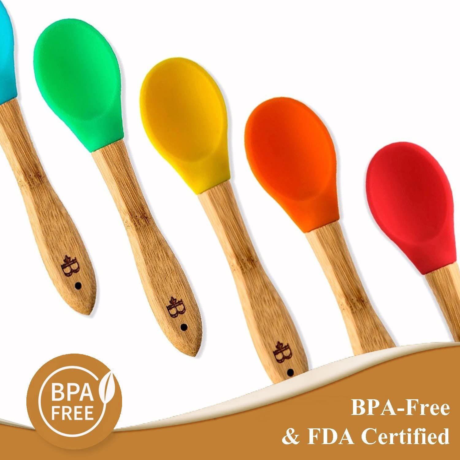 Set of 5 Great Infant Gift First Stage Weaning Feeding Spoons with Soft Silicone Tips for Babies or Toddler Gum-Friendly BPA-Free and Lead-Free Bambusi Natural Bamboo Baby Spoons