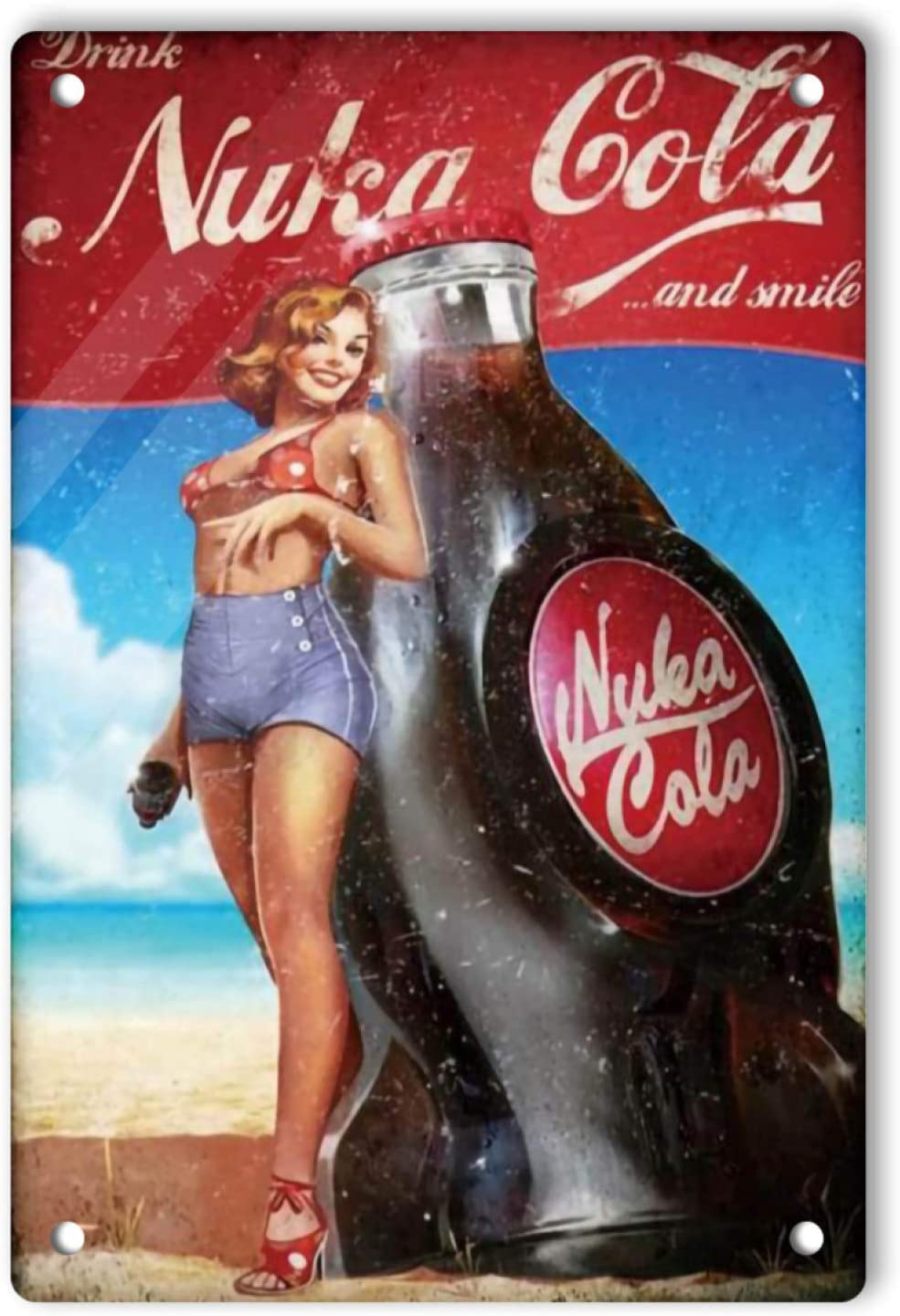 Ovonetune Vintage Pin Up Girl Cocacola Funny Tin Signs, Retro Lightweight Sign Wall Art Decor Fallout Poster for Men Cave Home Bars Cafes Pubs, 12x8 Inch