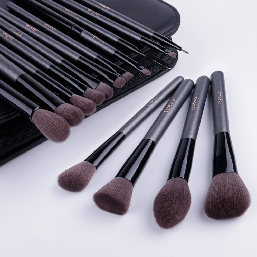 DUcare15 Pcs Pro Makeup Brush Set with Case and Travel Mirror Gift Choice Synthetic Professional Foundation Blending Brush Face Powder Blush Concealer Make Up Brushes by DUcare (Image #8)