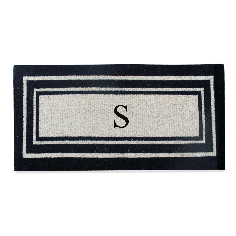 First Impression A1HC Black Classic Border Coir Doormat, Monogrammed S, 24'' L x 57'' W