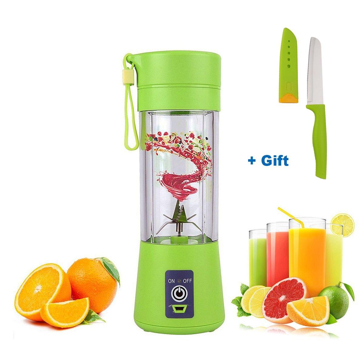 USB Juicer Cup, Portable Juicer Blender 400ml Extractor, Bonus a Fruit Knife, High Speed 6 Blades Safey Smoothie Maker [Latest Version]