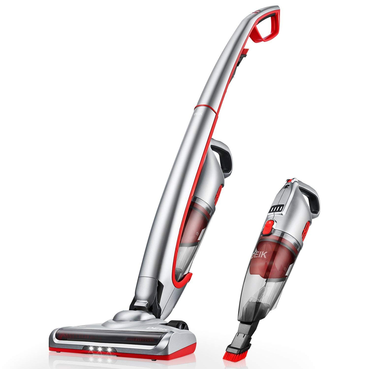 Cordless Vacuum, Deik Stick Vacuum Cleaner, Lightweight 2 in 1 Handheld Vacuum with High-Power 2200mAh Lithium-Ion Rechargeable Battery, Suitable for Pet Hair, Ultra Wide Brush Head & LED Headlight