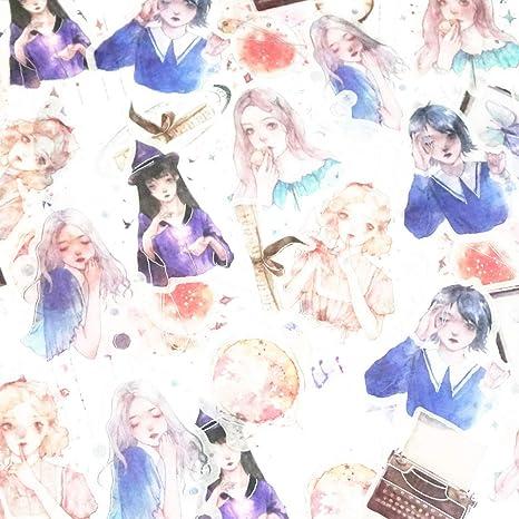 6pcs  Kawaii Rabbit Girl Color Stickers DIY Diary Scrapbook Decal Photo Craft