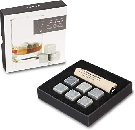 Accessotech 9 Piece Glacier Whisky Stones Granite Rocks Whiskey Wine Tea Drink Cooler Cooling Ice Cube