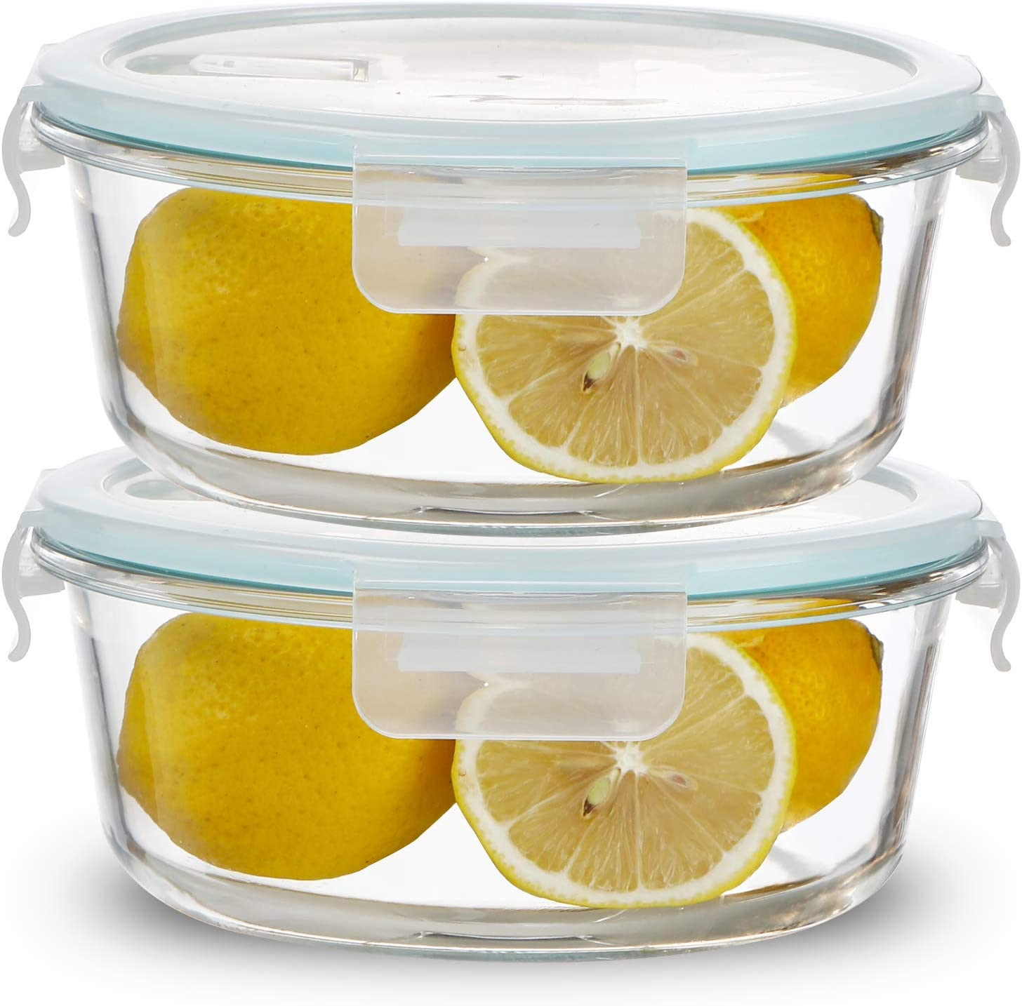 Sweejar 32 oz Glass Food Storage Containers Set with Lids(2 pack),Round Airtight Glass Meal Prep Containers,Lunch Box Containers,Freezer to Oven Safe