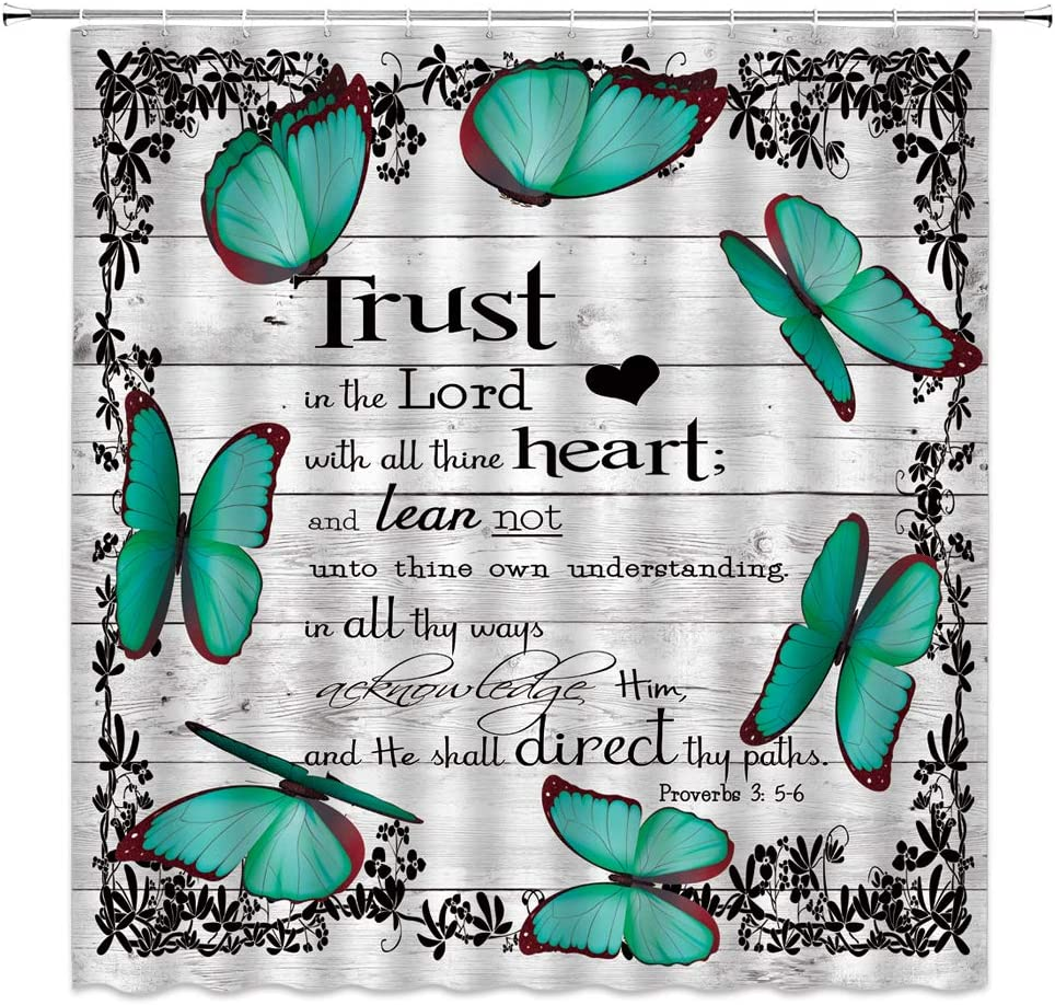 LIVEFUN Teal Butterfly Inspirational Quote Shower Curtain Trust in The Lord with All Thine Heart Vintage Rustic Wooden Fabric Bathroom Decor Curtain with 12 Hooks,71x71 Inch,Blue Black Gray