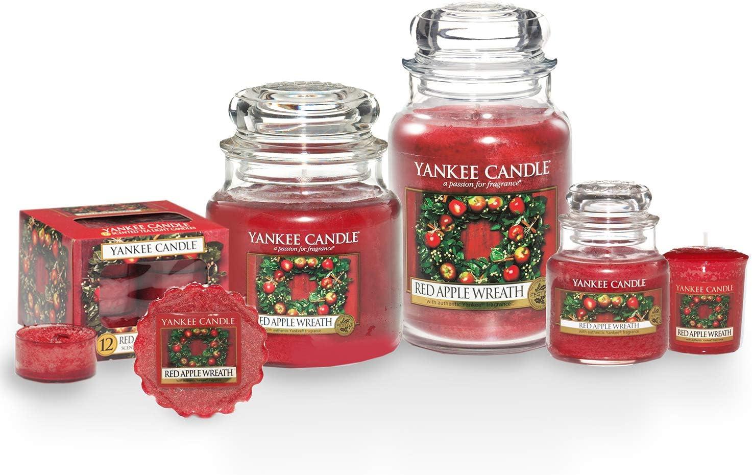 grande taille jusqu/à 150 heures de combustion Yankee Candle bougie jarre parfum/ée Couronne de pommes rouges