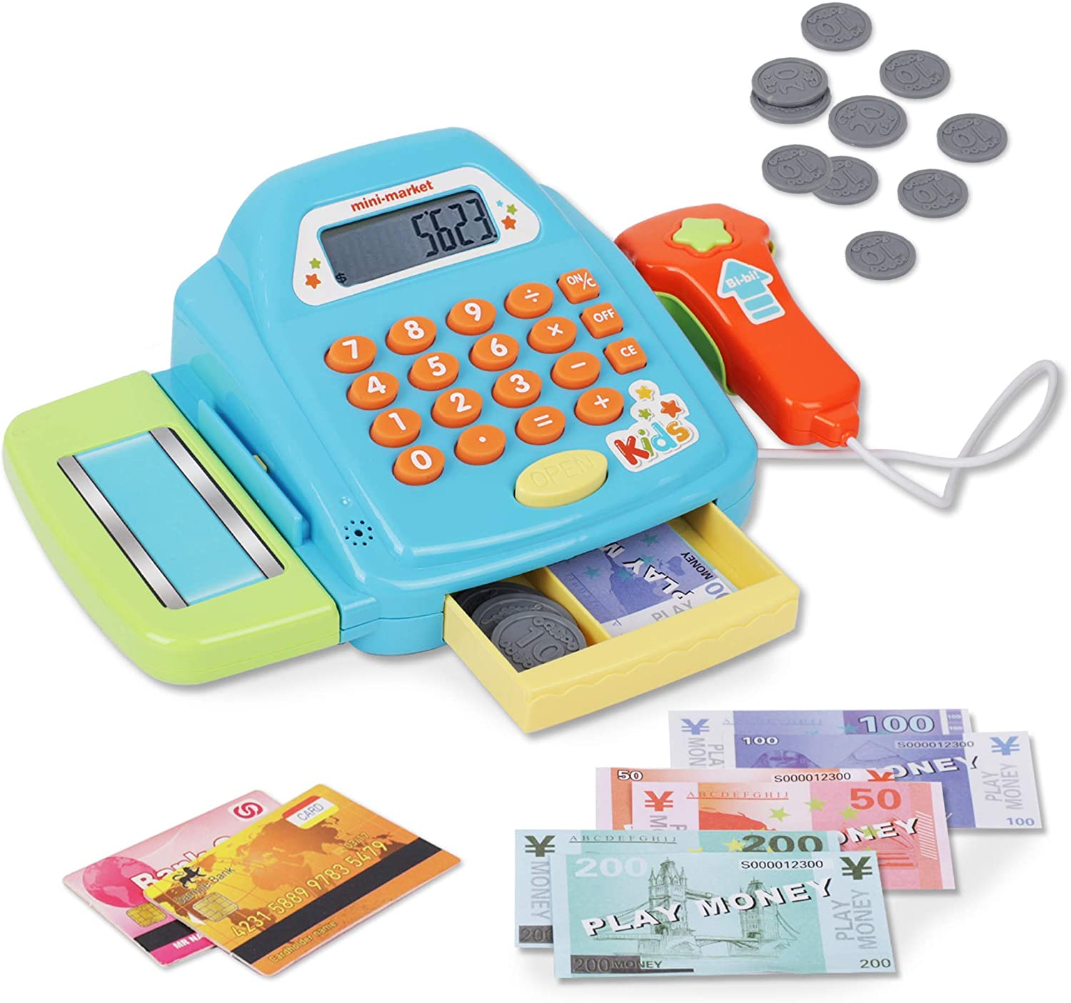 Playkidz Interactive Toy Cash Register for Kids - Sounds & Early Learning Play - Handheld Scanner & Calculator, Working Conveyor Belt