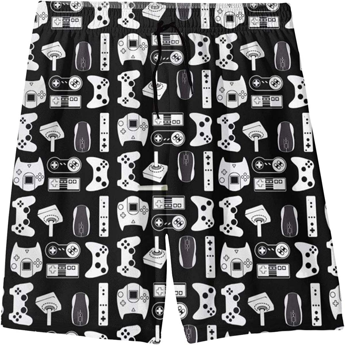 Black Video Game Weapon Funny Gamer Teenager Boys Beachwear Beach Shorts Pants Board Shorts