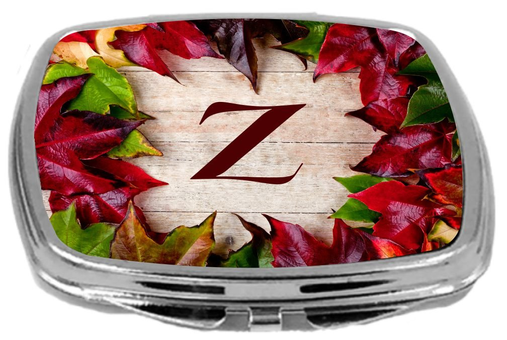 Rikki Knight Initial Rustic Fall Leaves on Wood Design Compact Mirror, Letter Z, 17 Ounce