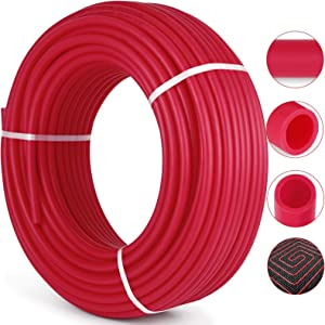 """Happybuy 3/4"""" PEX Tubing 300Ft Non-Barrier PEX Pipe Red Pex-b Tube Coil for Hot and Cold Water Plumbing Open Loop Radiant Floor Heating System PEX Tubing (3/4"""" Non-Barrier, 300Ft/Red)"""
