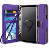 TAURI Galaxy S9 Case, [Stand Feature] PU Leather Wallet Case Protective Flip Cover For Samsung Galaxy S9 - Purple