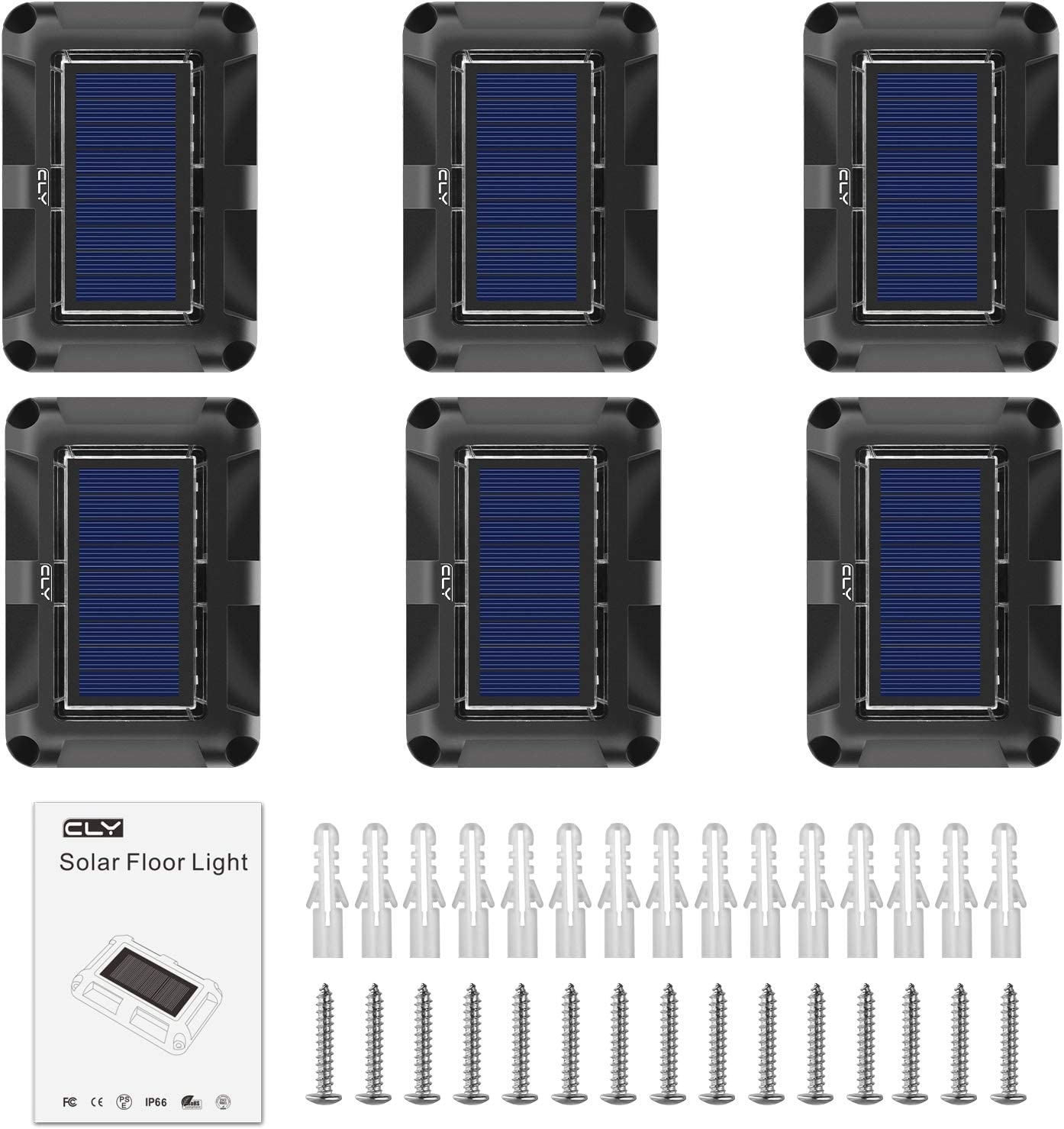 CLY Solar Decking Light,Solar Floor Light,IP67 Waterproof Outdoor Solar Ground Light,Scratch Resistant LED Solar Path Light for Lawn Pathway Patio Garden Pond Step Driveway,Daylight White,1 pcs