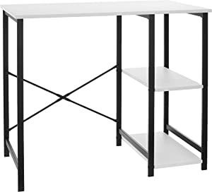 AmazonBasics Classic Computer Desk With Shelves - White