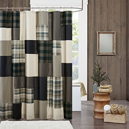 JLA Home INC Winter Hills Cotton Shower Curtain Plaid Lodge Cabin Curtains For