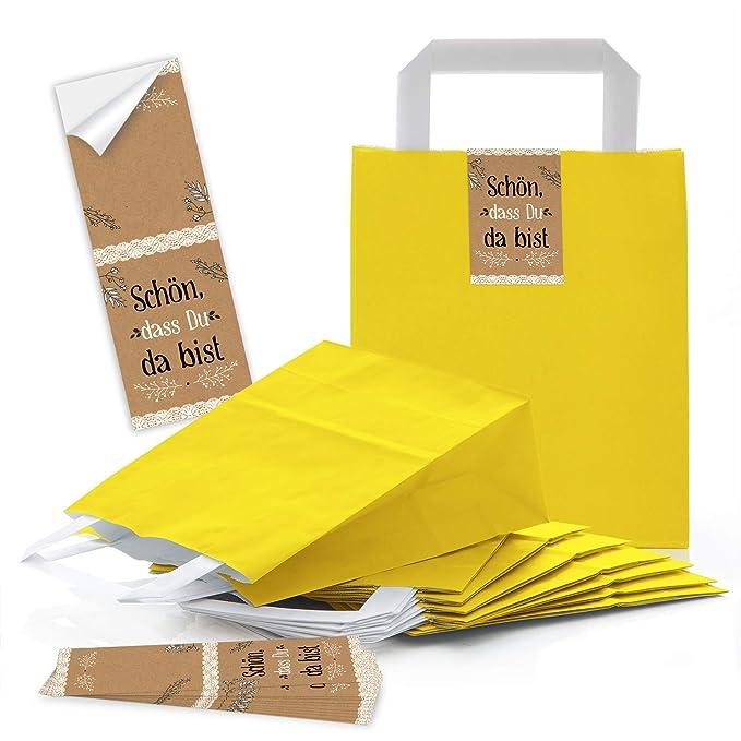 Logbuch-Verlag - Bolsas de papel amarillas con asa y lazos ...