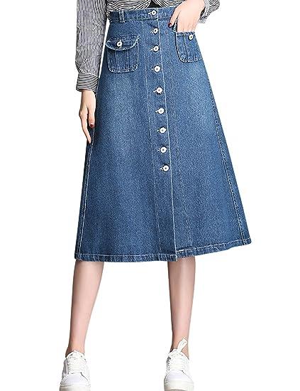 24ab8573d7 Tanming Women s High Waist A-Line Long Midi Denim Jean Skirt at ...