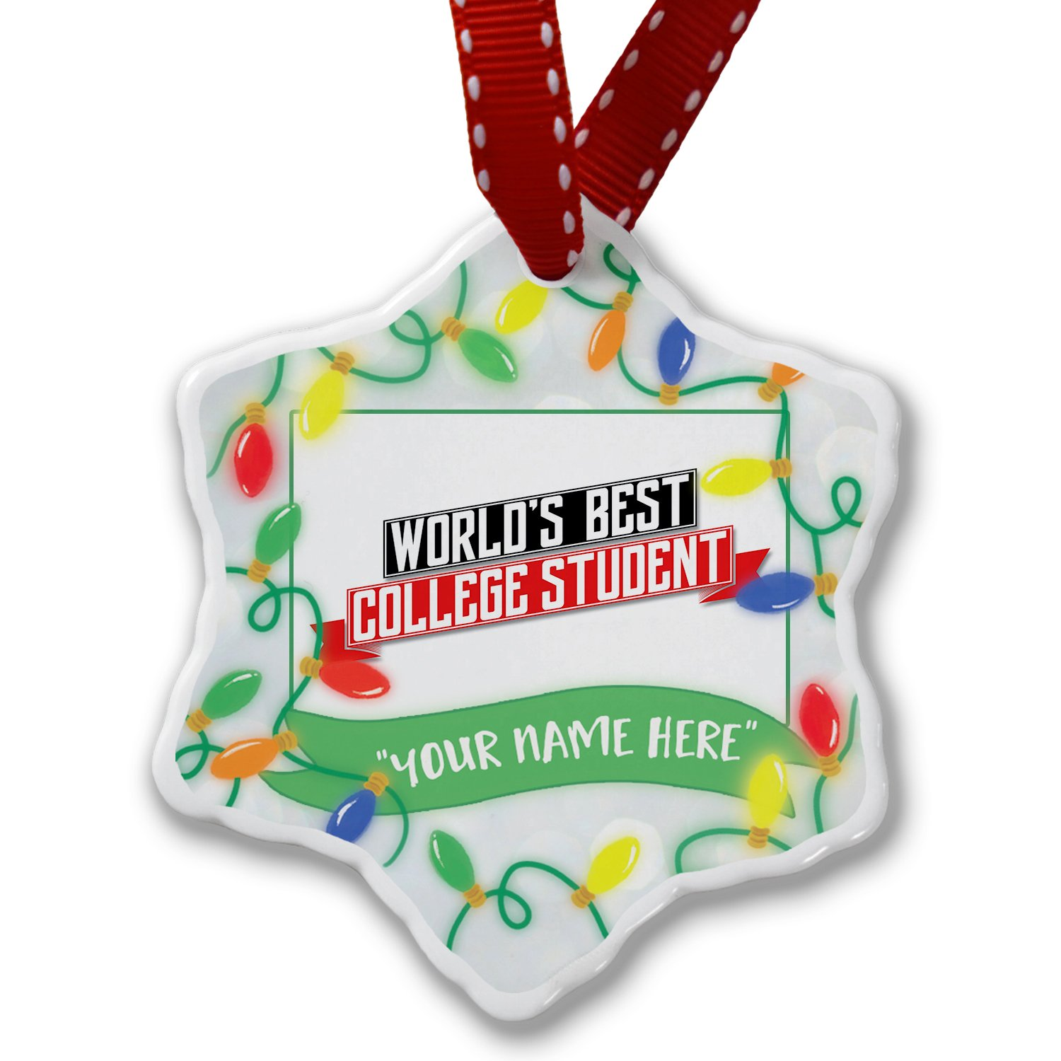 Personalized Name Christmas Ornament, Worlds Best College Student NEONBLOND