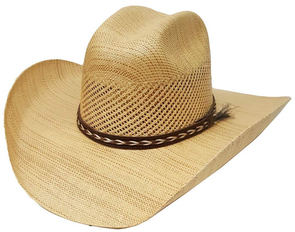 Modestone Breezer Wood Grain Finish Straw Cowboy Hat Beige