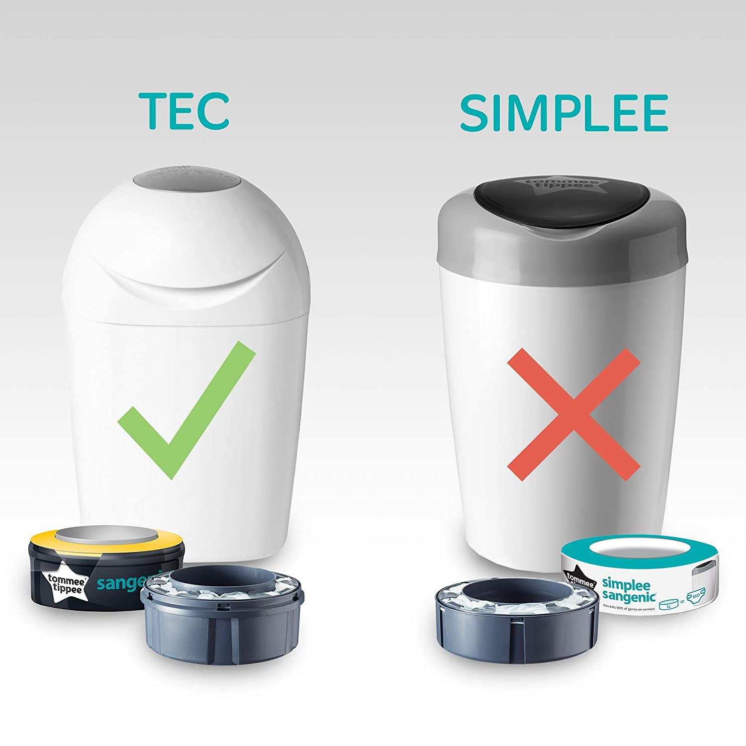 Amazon.com : Diaper pail refills for the diaper trash can by Tommee Tippee. (18 Pack) : Baby