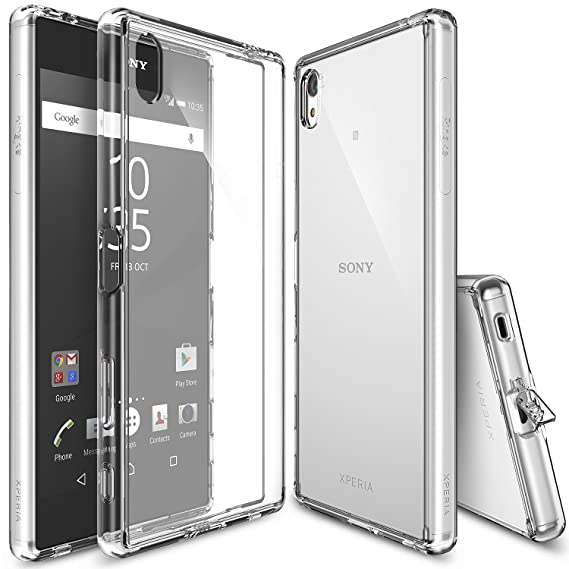competitive price 31a0a eff13 Ringke Fusion Compatible with Sony Xperia Z5 Premium Case Crystal Clear PC  Back TPU Bumper w/Screen Protector [Drop Protection, Shock Absorption ...