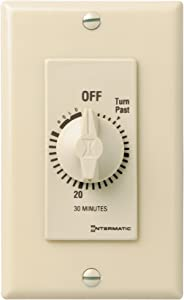 Intermatic FD30MH 30-Minute Spring-Loaded Automatic Shut-off In-Wall Timer for Fans and Lights, Ivory