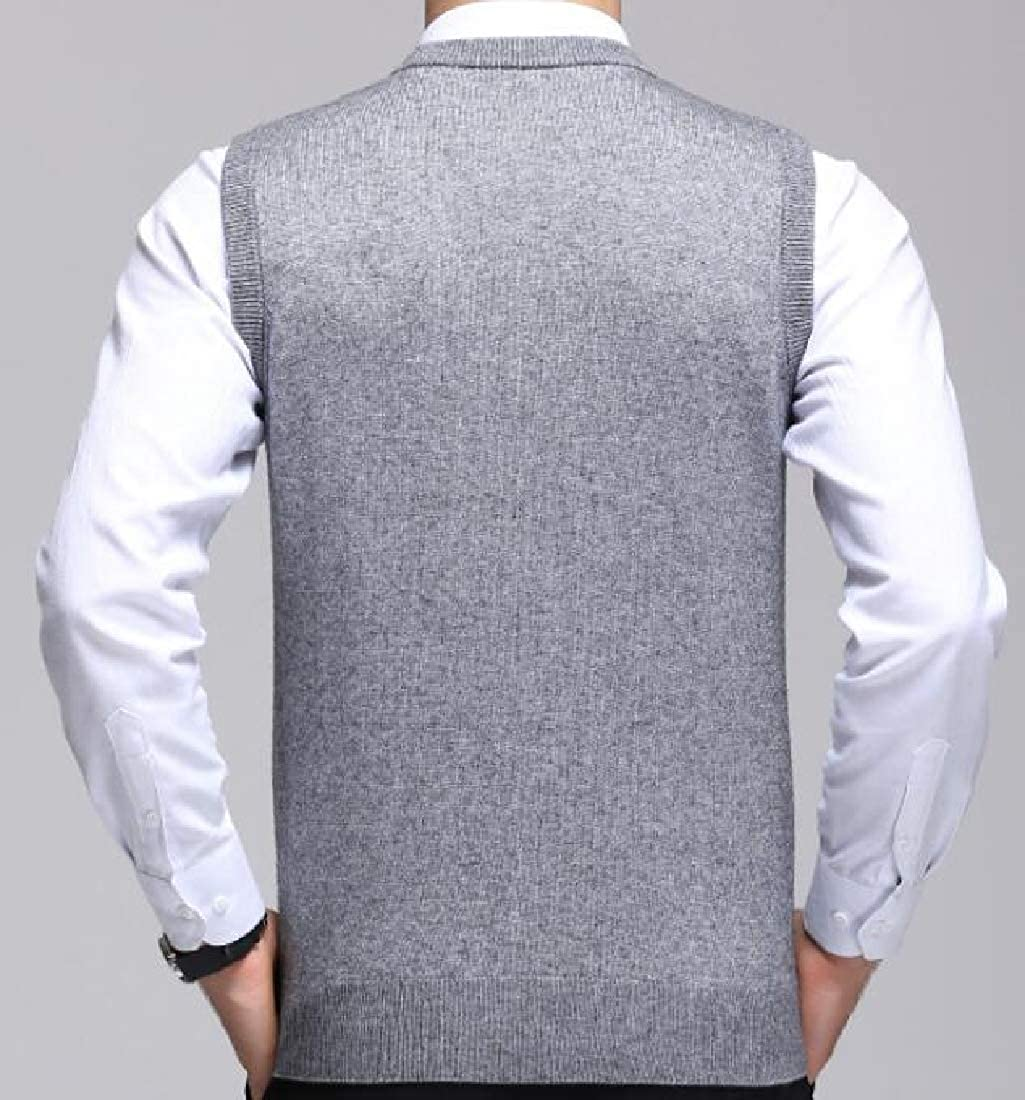 WSPLYSPJY Men Casual Slim Fit Solid Texture Button-Front Lightweight Sweater Vest