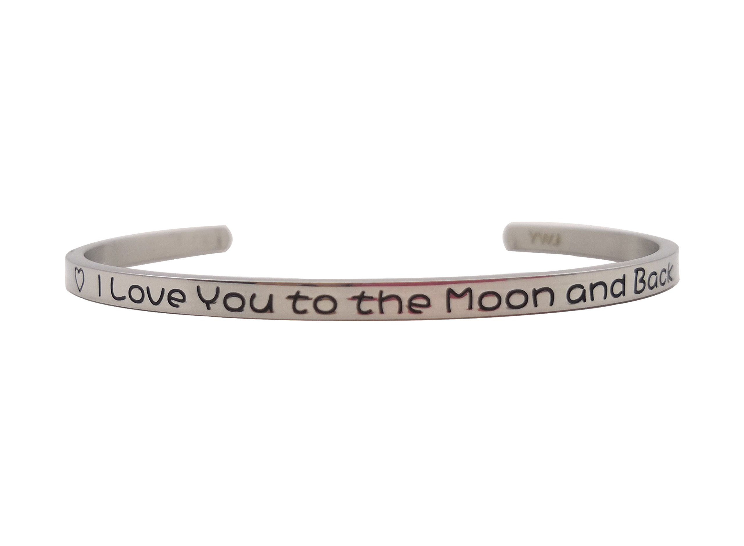 YWJ I Love You to the Moon and Back' Cuff Bangle Love Bracelet for Women Wife Girlfriend Mom Her by YWJ (Image #1)