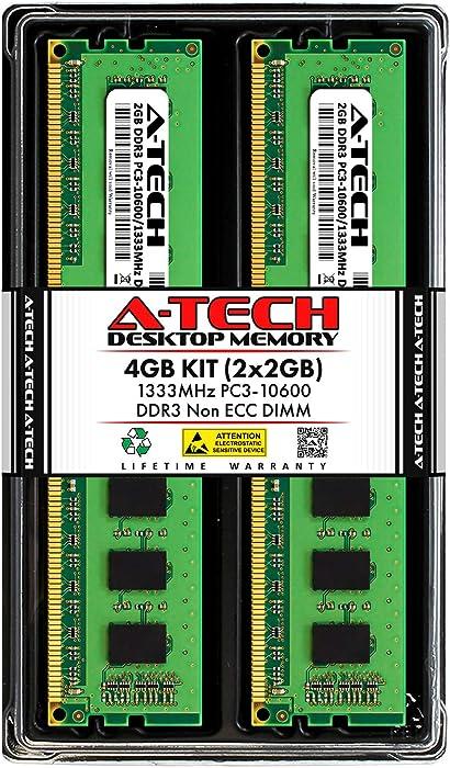 A-Tech 4GB (2 x 2GB) DDR3 1333MHz PC3-10600 Desktop RAM Kit | Non-ECC Unbuffered DIMM 1.5V 240-Pin Memory Upgrade Modules