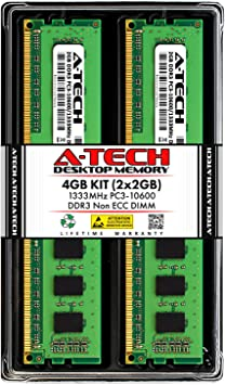 DDR3 1333MHz DIMM PC3-10600 240-Pin Non-ECC UDIMM Memory Upgrade Module A-Tech 4GB RAM for ACER Aspire AT3-600-UR22