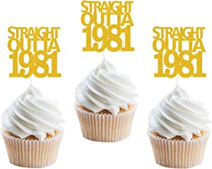 24Pcs Gold Glitter Straight Outta 1981 Cupcake Topper, Happy 40th Birthday Cupcake Topper, Cool 40 Years Old Birthday Party Decoration